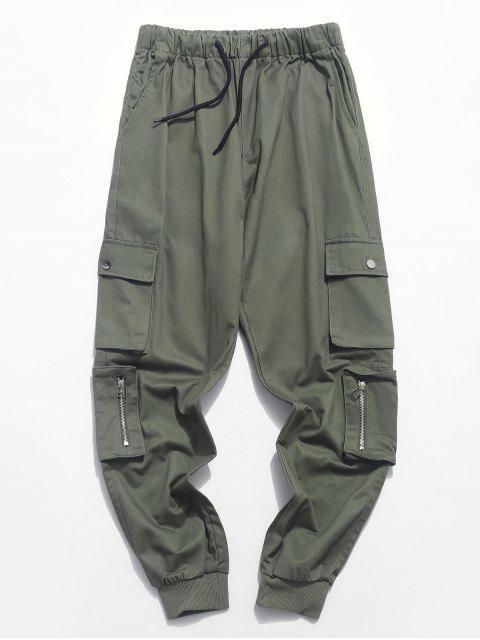 Pantalon de Jogging Zippé en Couleur Unie avec Poche à Cordon - Vert Camouflage M Mobile