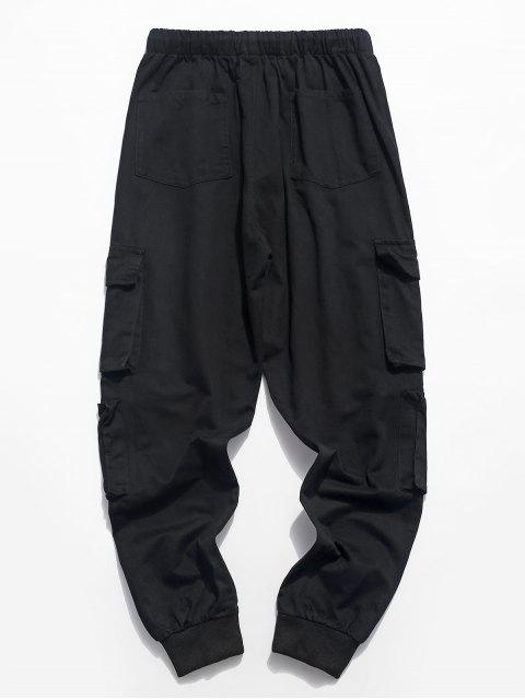 拉鍊口袋純色抽繩慢跑褲 - 黑色 M Mobile