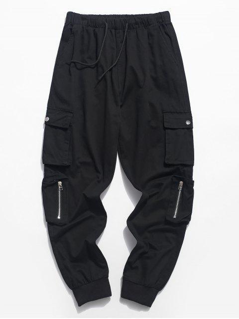 Pantalon de Jogging Zippé en Couleur Unie avec Poche à Cordon - Noir S Mobile