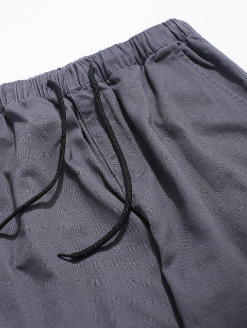 Jogger Pantalones de Color Sólido con Cremallera y Bolsillo - Gris S Mobile
