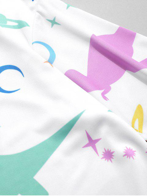 Camiseta con estampado de dinosaurios Moon Star Planet - Blanco 4XL Mobile