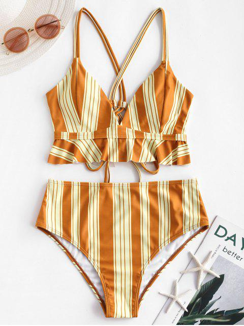 ZAFUL Maillot de Bain Tankini Rayé à Double Bretelles - Orange d'Or XL Mobile
