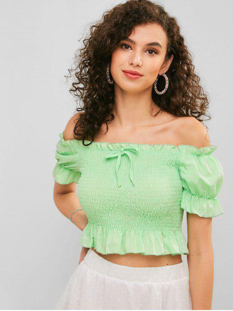 lady ZAFUL Smocked Off Shoulder Ruffle Blouse - AQUAMARINE M Mobile