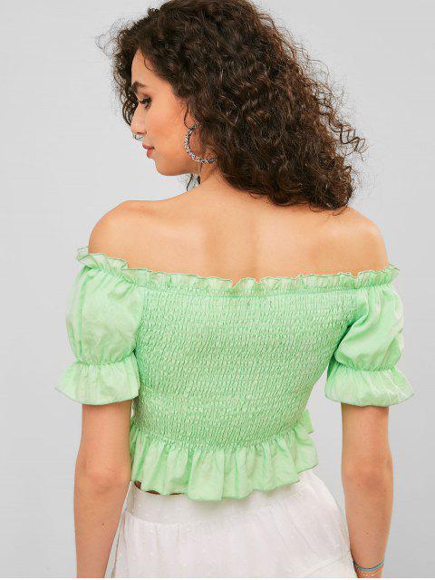 trendy ZAFUL Smocked Off Shoulder Ruffle Blouse - AQUAMARINE L Mobile