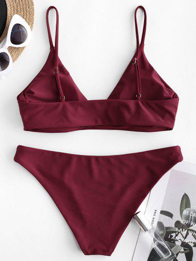 e3f7998ffef ... ZAFUL Solid Bralette Bikini Swimsuit - Red Wine S