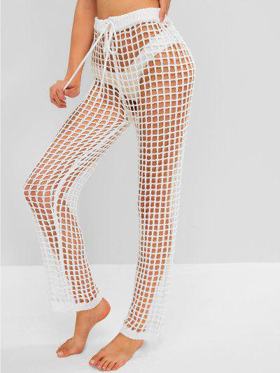 Drawstring Beach Crochet Pants - White