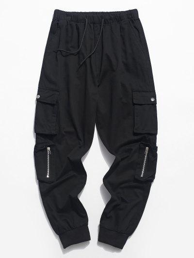 Zipper Pocket Solid Color Drawstring Cargo Pants - Black S