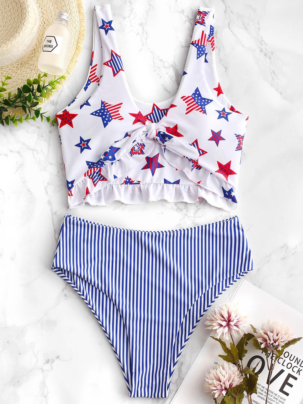 ZAFUL Patriotic American Flag Ruffle Tankini Swimsuit фото