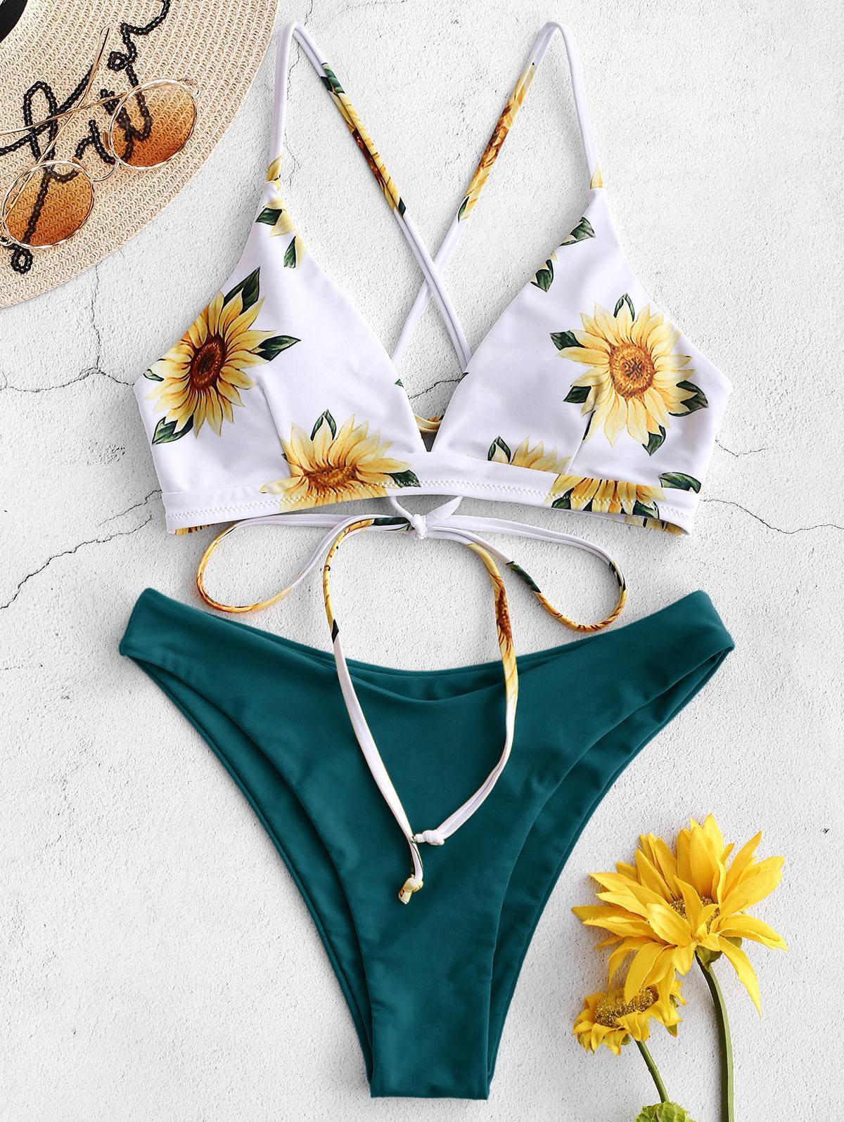 Zaful coupon: ZAFUL Sunflower Criss Cross Bikini Set