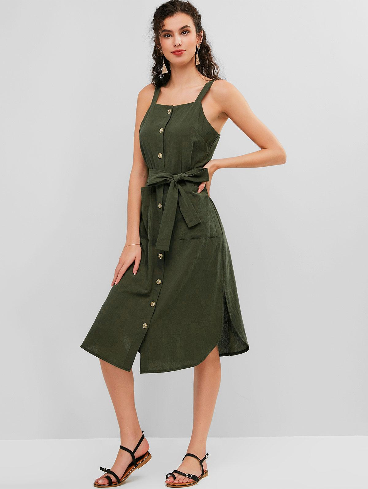 ZAFUL Button Up Pocket Belted Slit Dress, Army green