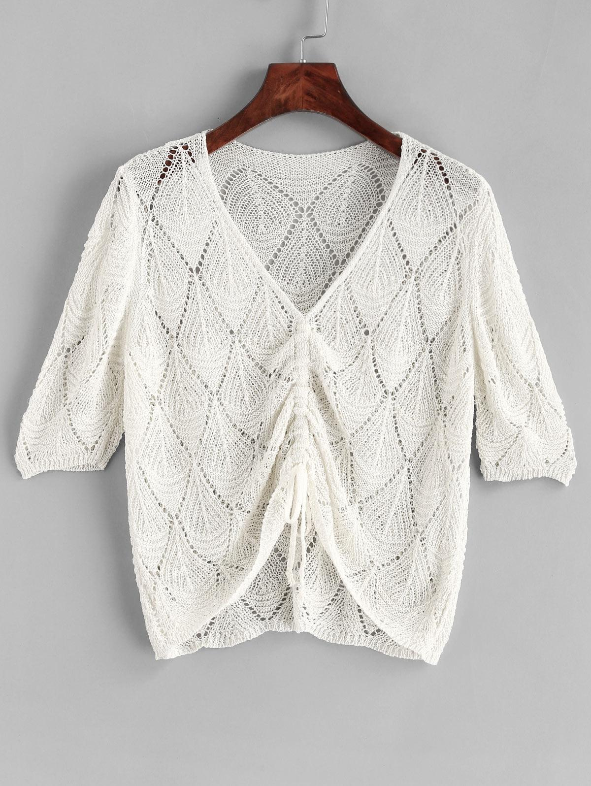 Crochet Cinched V Neck Cover Up Top, White