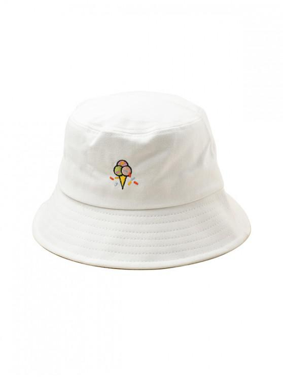 new Embroidered Ice Cream Pattern Bucket Hat - WHITE