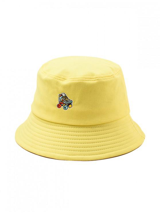 shop Embroidered Roller Skates Pattern Bucket Hat - YELLOW