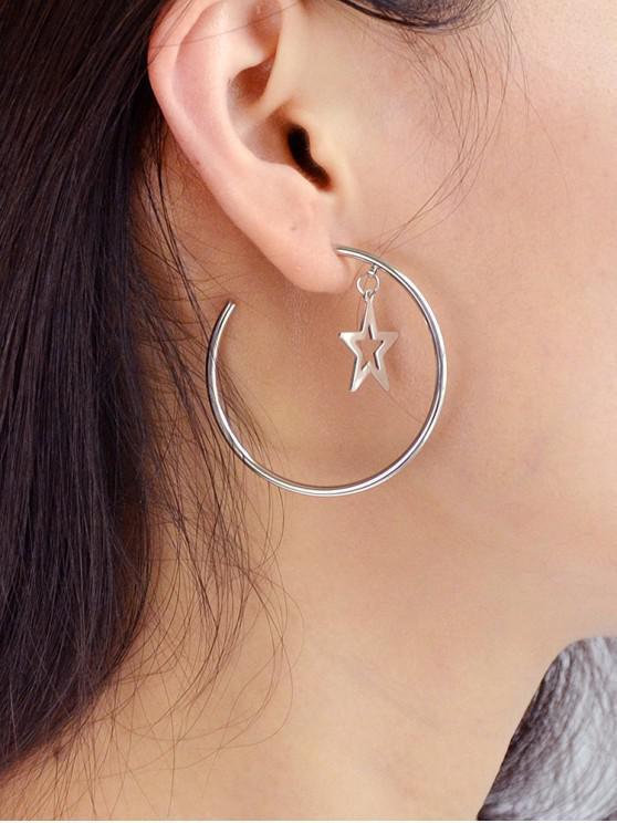 latest C Shape Hollow Star Earrings - SILVER