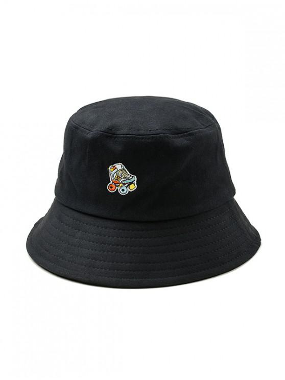 new Embroidered Roller Skates Pattern Bucket Hat - BLACK