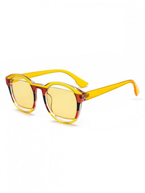 affordable Retro Round Frame Decoration Sunglasses - YELLOW