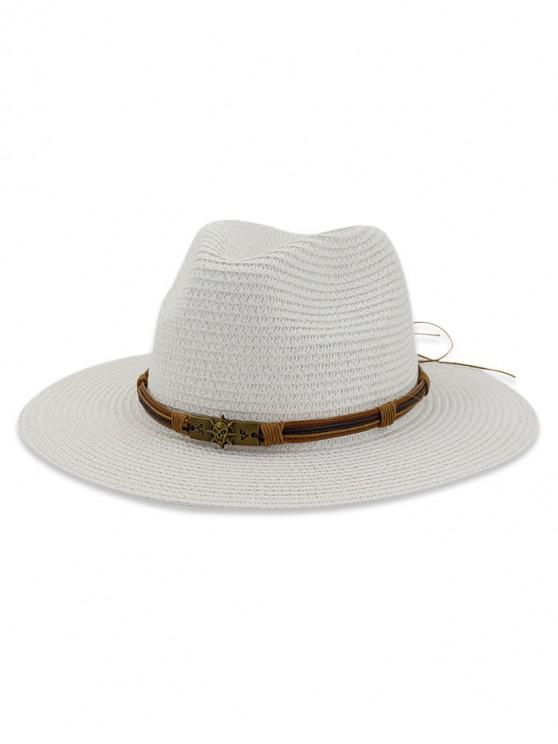women Beach Outdoors Straw Sun Hat - WHITE