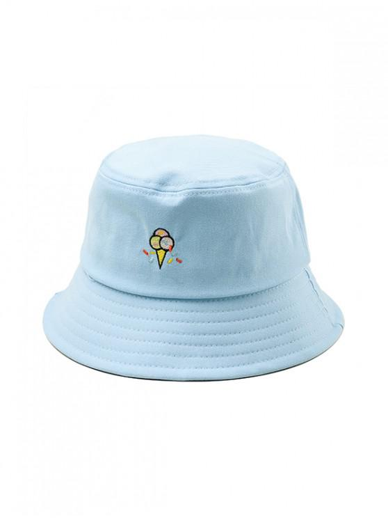 Chapeau Seau Motif de Glace Brodé - Bleu Léger