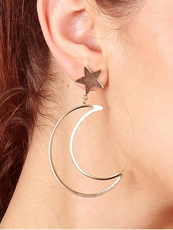 shops Hollow Star Moon Drop Earrings - GOLD
