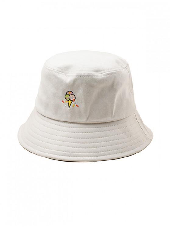 Chapéu de balde bordado padrão de sorvete - RAL1001 Bege,  Amarelo Claro ou Cinza Amarelo