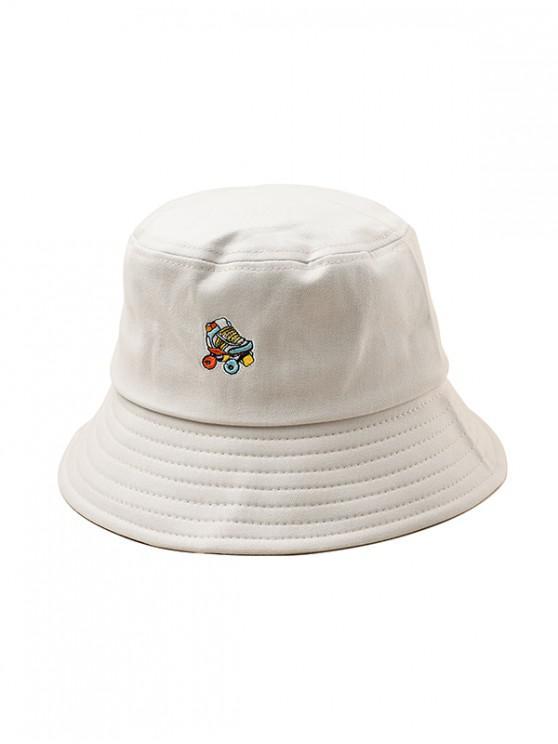 sale Embroidered Roller Skates Pattern Bucket Hat - BEIGE