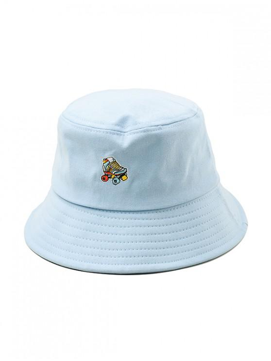 buy Embroidered Roller Skates Pattern Bucket Hat - LIGHT BLUE