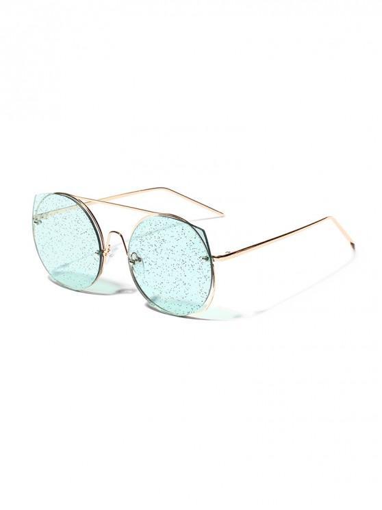 womens Retro Round Metal Frame Decorative Sunglasses - SEA BLUE