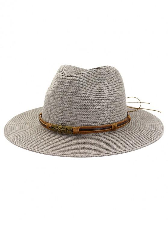 latest Beach Outdoors Straw Sun Hat - GRAY