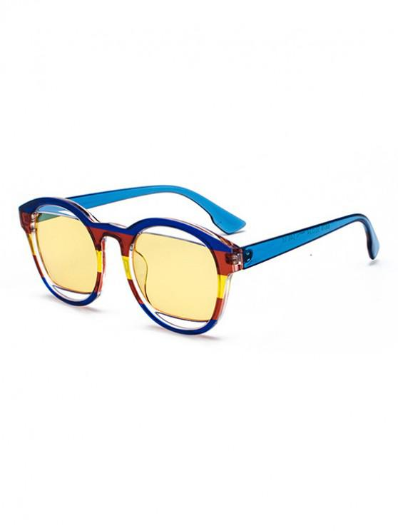 women's Retro Round Frame Decoration Sunglasses - DODGER BLUE