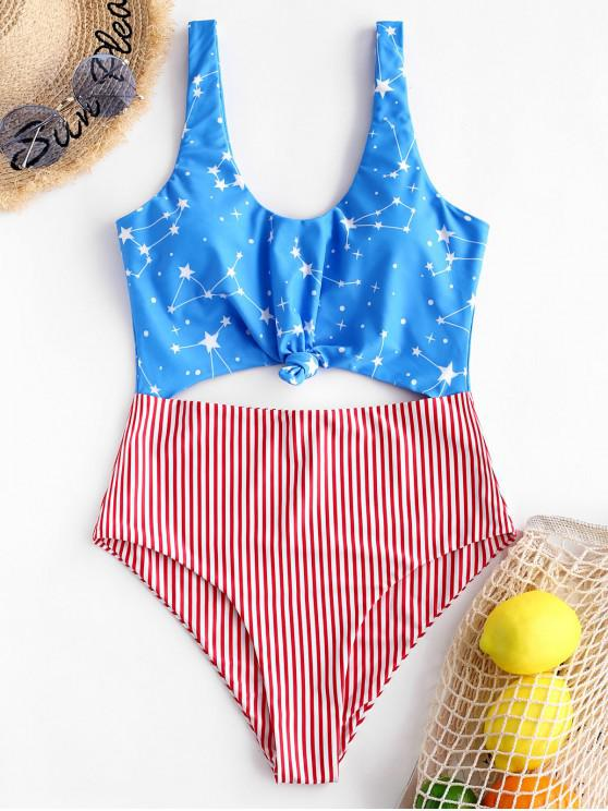 ab92e8230d 28% OFF] [HOT] 2019 ZAFUL American Flag Knotted Monokini Swimsuit In ...