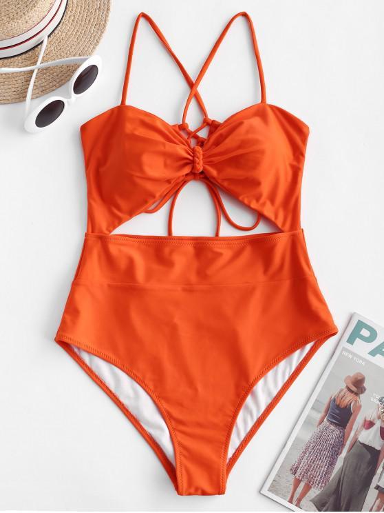 womens ZAFUL Crisscross Lace-up Cutout One-piece Swimsuit - ORANGE M