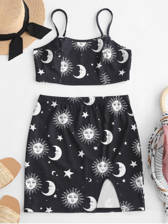 ZAFUL Cami Star Conjunto de falda con abertura y parte superior de sol y luna - Negro M