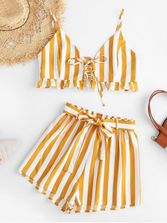 outfit ZAFUL Striped Lace-up Ruffled Top and Belted Shorts Set - MULTI S