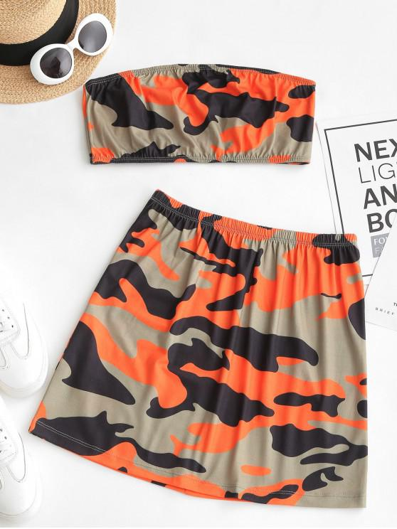 chic ZAFUL Camouflage Bandeau Top and Flare Skirt Set - MULTI S