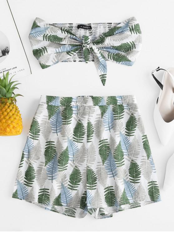 womens ZAFUL Knotted Leaf Print Bandeau Top and Shorts Set - MULTI M