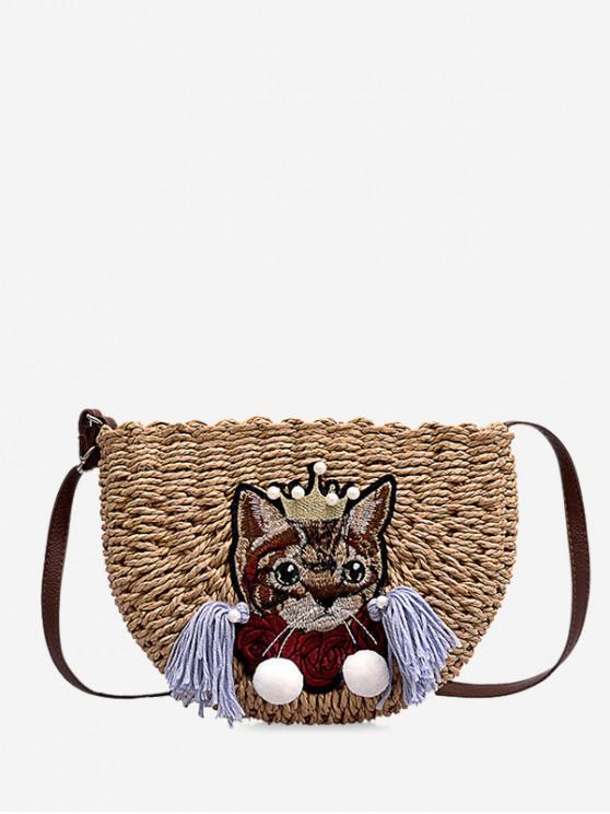bc136ab734 34% OFF] 2019 Cat Pattern Woven Crossbody Bag In CARAMEL | ZAFUL ...