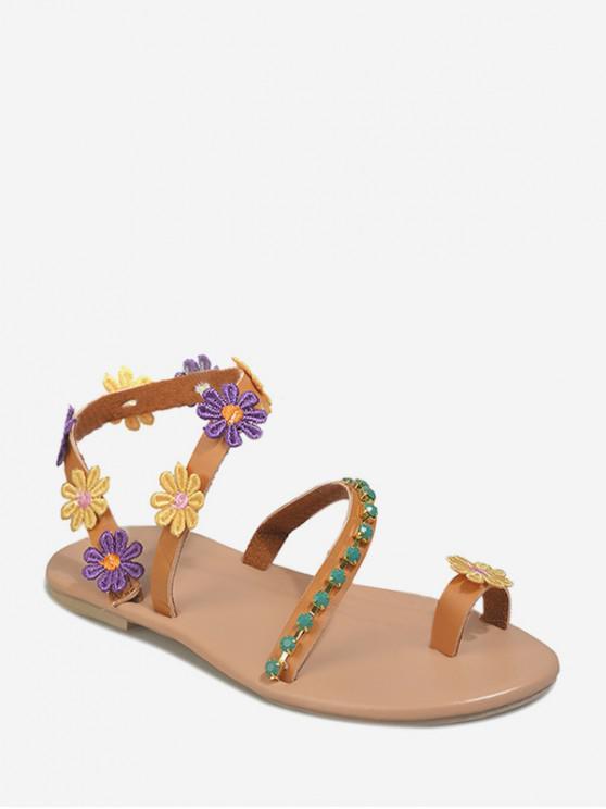 Roman Flower Rhinestone Decor Flat Sandals BROWN