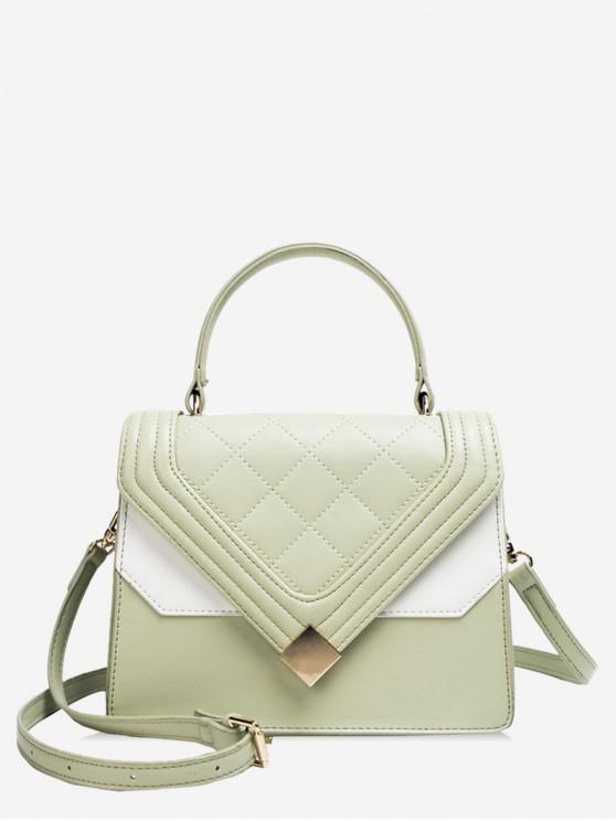 fancy Color Block Decoration PU Tote Bag - DARK SEA GREEN