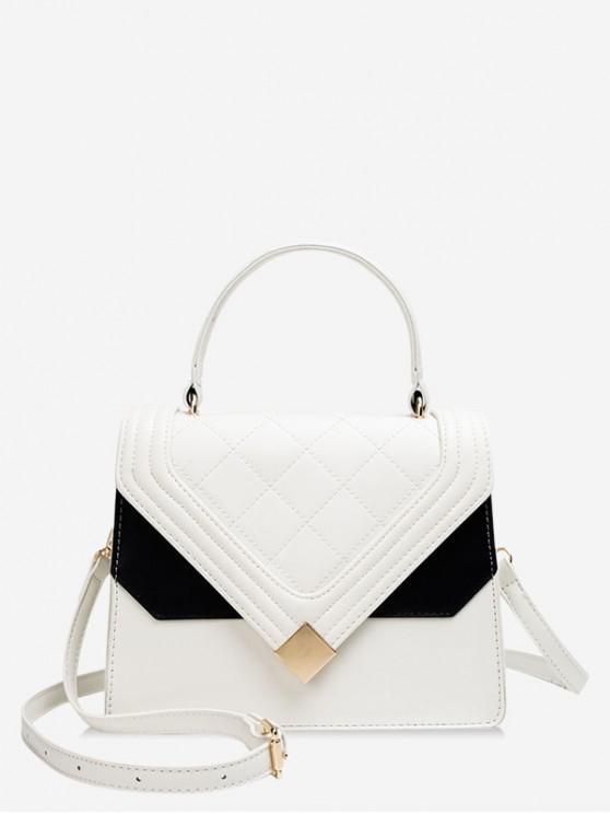 La bolsa de asas de la PU de la decoración del bloque del color - Blanco