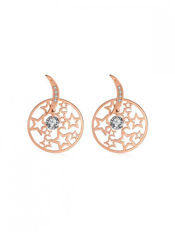 affordable Round Hollow Star Rhinestone Earrings - CHAMPAGNE