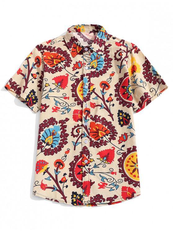 women Ethnic Tribal Flower Print Curved Hem Shirt - APRICOT M