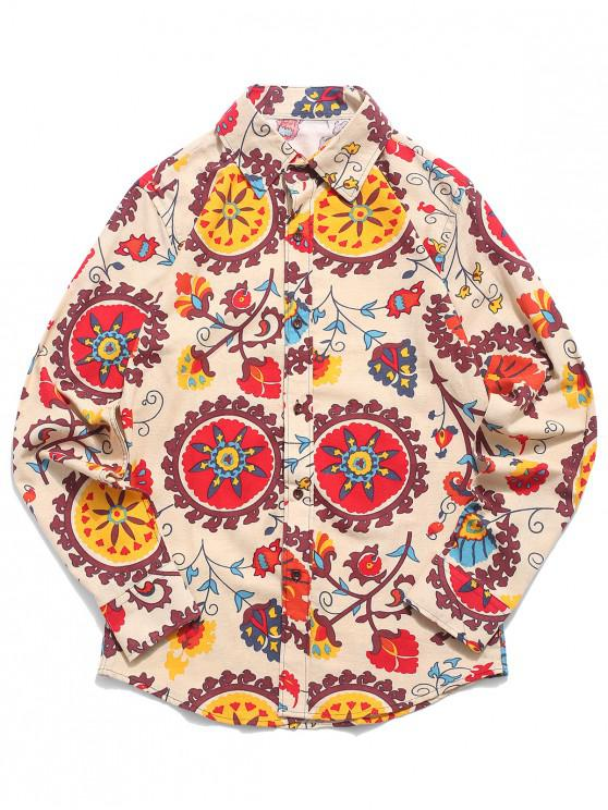 hot Ethnic Tribal Flower Button Shirt - APRICOT 2XL