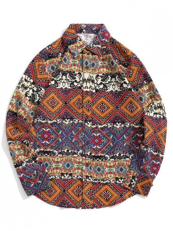 Camisa geométrica tribal del botón del estampado de flores - Madera 2XL