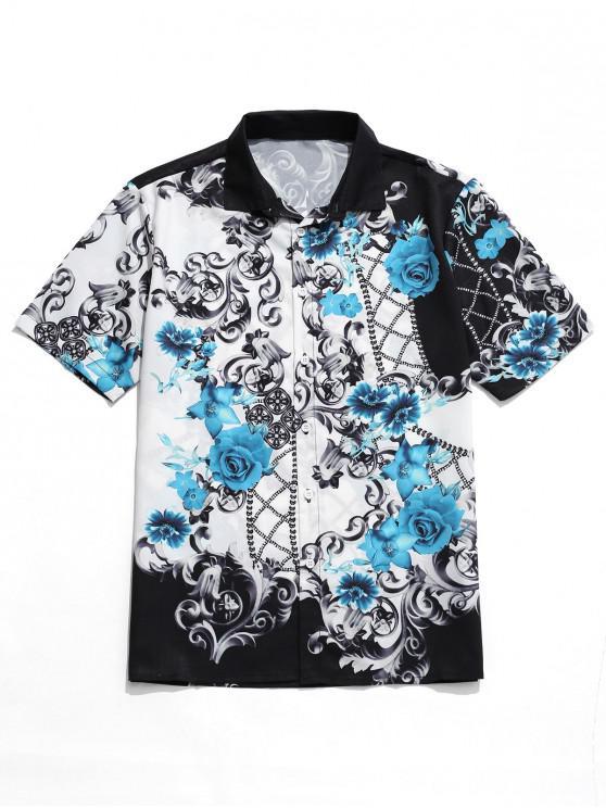fashion Scroll Floral Print Holiday Beach Shirt - WHITE M