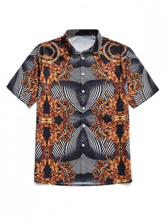 womens Baroque Stripe Floral Print Button Shirt - BLACK 2XL