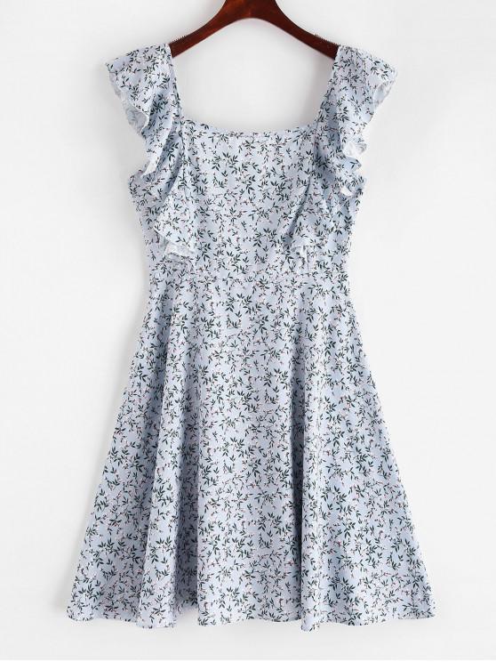 fashion Square Floral Ruffles Mini Dress - MULTI M
