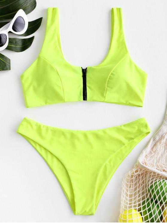 lady ZAFUL Zip Front Tank Bikini Set - GREEN YELLOW M