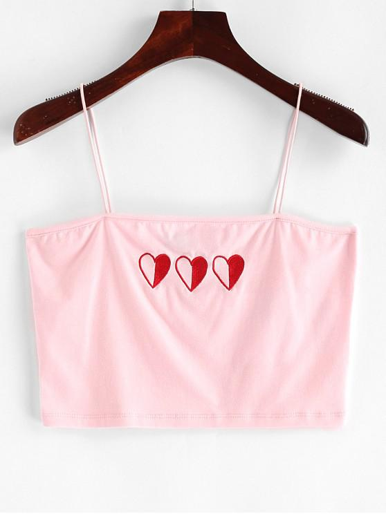 unique ZAFUL Heart Embroidered Crop Cami Top - PINK M