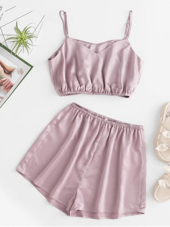 affordable ZAFUL Satin Cami And Shorts Two Piece Set - WISTERIA PURPLE M