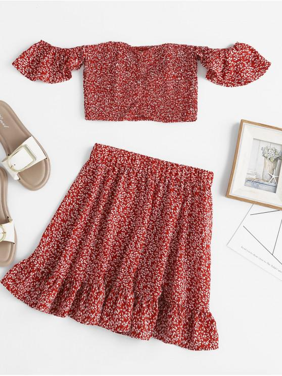 ladies ZAFUL Off Shoulder Smocked Print Top and Flounce Skirt Set - CHESTNUT RED L